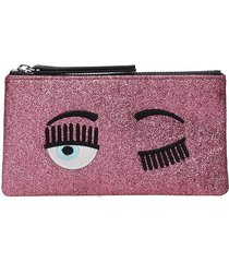 chiara ferragni clutch in rose-pink leather
