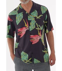 edwin resort shirt - ebony birds of paradise i026628