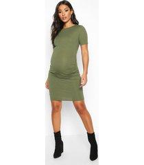 maternity basic rib bodycon dress, khaki