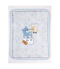 cobertor corttex infantil para bebê - azul/amarelo