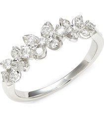saks fifth avenue women's 14k white gold & diamond wedding band ring - size 7
