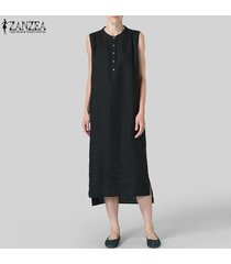zanzea vestido sin mangas de camisa larga para mujer vestido asimétrico sin mangas vestido a media pierna tallas grandes -negro