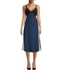 gladys colorblock silk slip dress