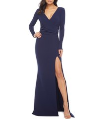 women's dress the population carmen long sleeve v-neck gown, size small - blue