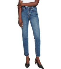 anine bing sonya high waist slim jeans, size 31 in blue at nordstrom