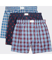 tommy hilfiger men's cotton classics woven boxer 3pk blue/red - m