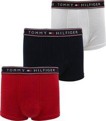 kit 3pçs cueca tommy hilfiger boxer lettering branco/vermelho/azul-marinho