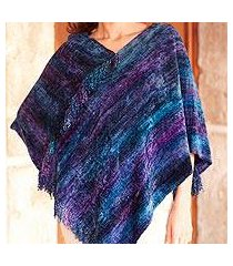 cotton blend poncho, 'full moon night' (guatemala)