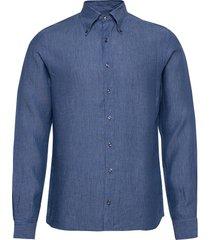 harry 3 slim shirt wash overhemd casual blauw oscar jacobson