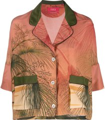 f.r.s for restless sleepers graphic-print short-sleeved shirt - orange
