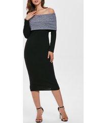 contrast knitted off shoulder long dress