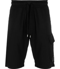 c.p. company multi-pocket drawstring waist shorts - black