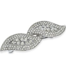 charter club silver-tone crystal hair clip, created for macy's
