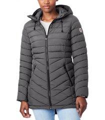bernardo bernado packable ecoplume(tm) hooded walker coat, size x-large in charcoal at nordstrom