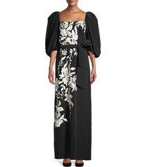 johanna ortiz women's floral themes imperial maxi dress - black - size 6