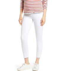 women's 7 for all mankind the ankle skinny maternity jeans, size 32 - white