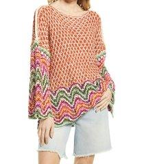 women's free people heatwave crochet pullover, size medium - brown