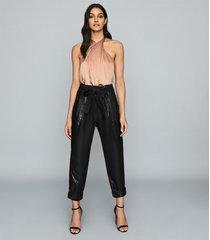 reiss lucienne - silk layered bodysuit in blush, womens, size xl