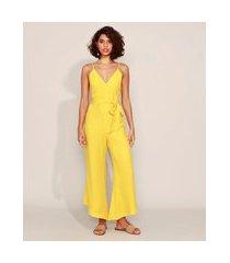 macacão feminino pantacourt com faixa decote v alça fina amarelo