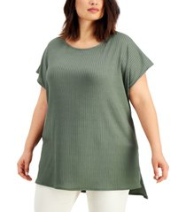 alfani plus size ribbed-knit high-low top, created for macy's