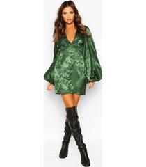 jaquard satin plunge blouson sleeve mini dress, green