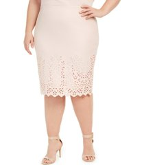 nine west plus size laser cut pencil skirt