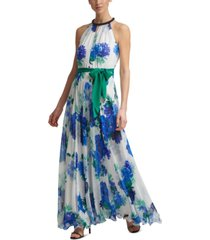 calvin klein beaded-neck chiffon-floral gown