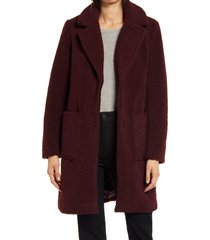 women's french connection faux fur teddy coat, size medium - burgundy