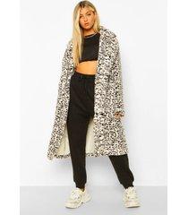 tall lange faux fur luipaardprint jas, grey