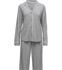dkny new signature l/s top & pant pj set pyjamas grå dkny homewear