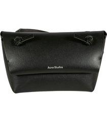 acne studios long strap logo print shoulder bag