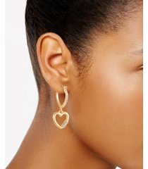guess pave heart lock charm hoop earrings