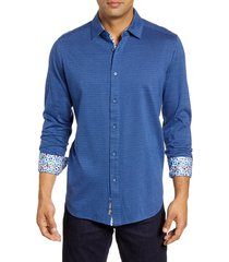 men's robert graham stolhart regular fit button-up sport shirt, size large - blue