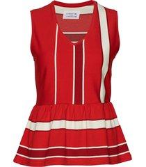 out blouse mouwloos rood libertine-libertine