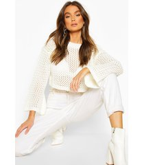 loose knit flare sleeve cropped sweater, ivory
