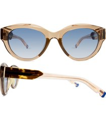 coco and breezy peyton 53mm gradient oval sunglasses in cognac crystal/blue gradient at nordstrom