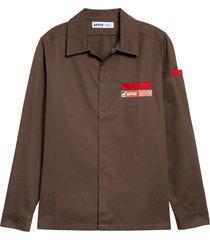men's affix beach twill shirt, size medium - brown