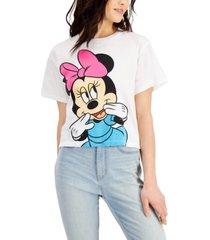 disney juniors' cotton shy minnie graphic-print t-shirt