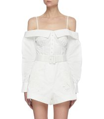 off shoulder embroidered lace belted playsuit