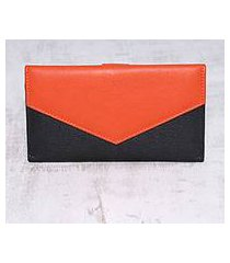 leather wallet, 'power chic in orange' (india)
