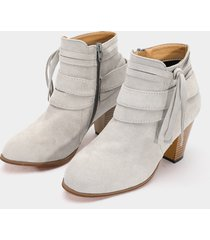 botines de ante con cremallera lateral