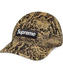supreme snakeskin-effect corduroy camp cap - neutrals