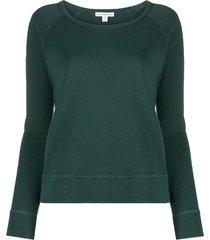 james perse round neck slim fit sweatshirt - green