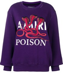 amiri embroidered sweatshirt - purple