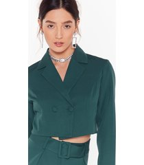 womens follow suit double-breasted cropped blazer - teal