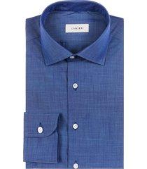 camicia da uomo su misura, albini, blu chambray, primavera estate | lanieri