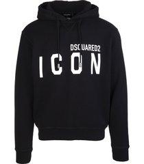 dsquared2 man black icon hoodie