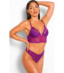 v wire longline mesh bralette and thong set, purple