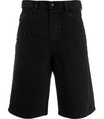 diesel distressed denim shorts - black