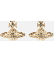 vivienne westwood women's minnie bas relief earrings - gold crystal